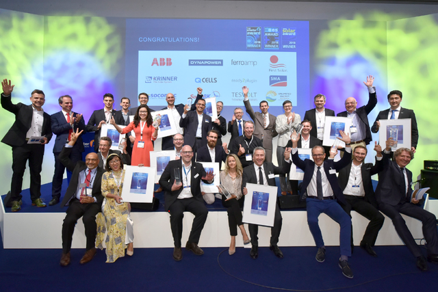 Les gangnants du Smarter E Award, du Intersolar Award et du EES Awards. Photo : The Smarter E